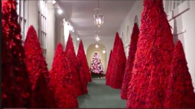 The White House image, larger-- a hallway flanked by cones of scarlet fur, somewhat reminiscent of the texture of pine trees. At the distant end of the hall, a tree with so many lights on it one cannot tell if it is another of the Muppet-skinned oddities or an actual tree.